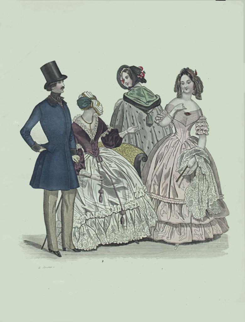 Rycina z Dziennika domowego z roku 1840 przedstawiająca dwie kobiety i mężczyznę w strojach dziennych oraz jedna kobietę w sukni wieczorowej.