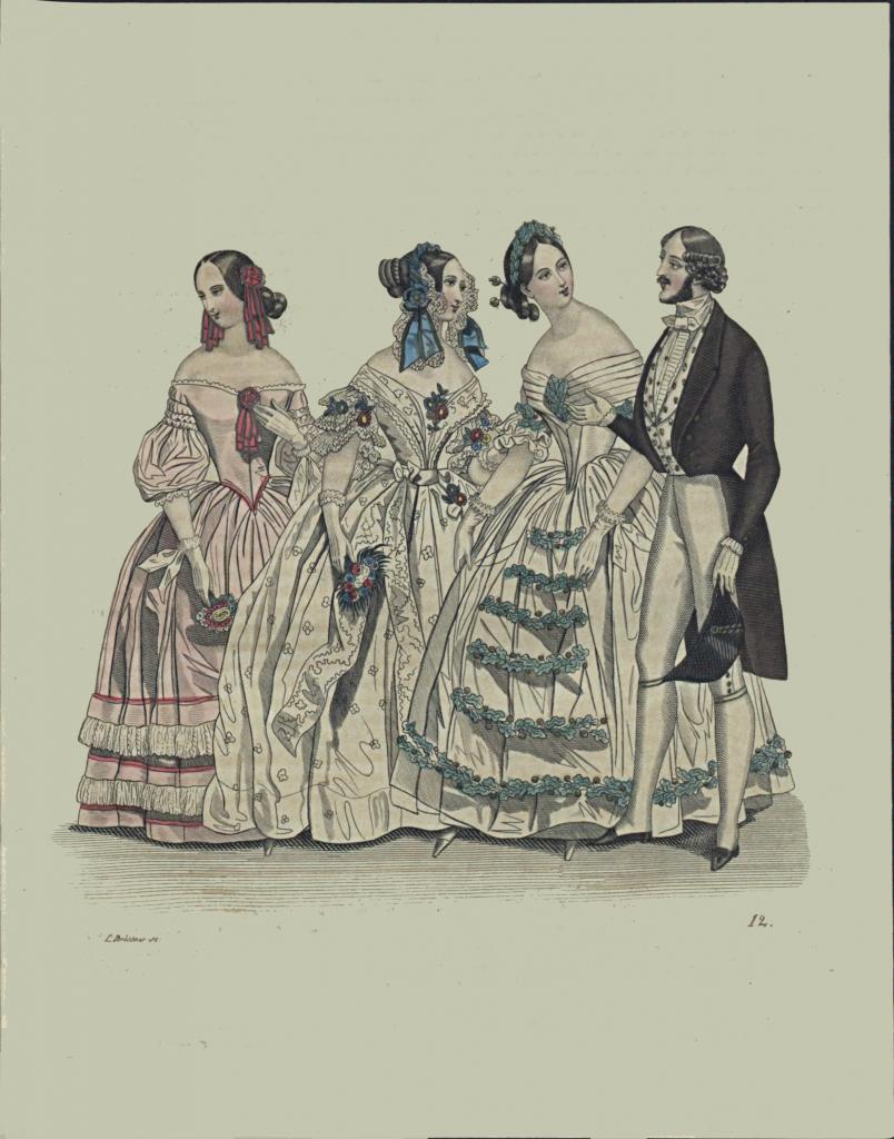 Rycina z Dziennika domowego z roku 1840 przedstawiająca trzy kobiety i mężczyznę w strojach wieczorowych.