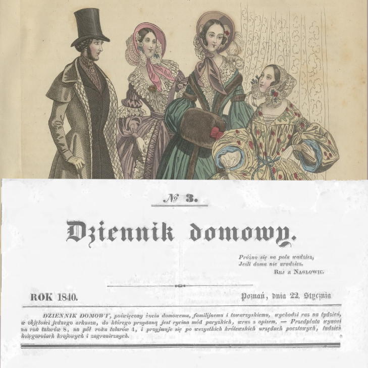 Obrazek z fragmentami oryginalnej szaty graficznej Dziennika domowego.