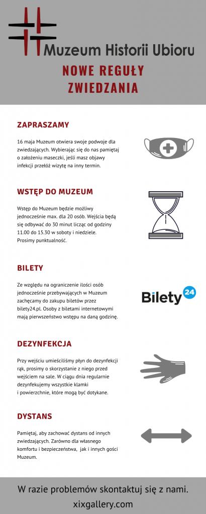 Infografika od regułach zwiedzania w czasie COVID19